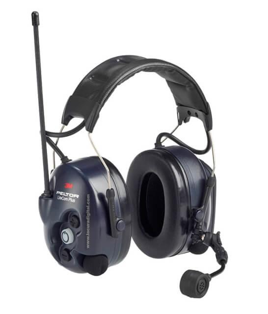 Cascos con walkie-talkie, de 3M Peltor.