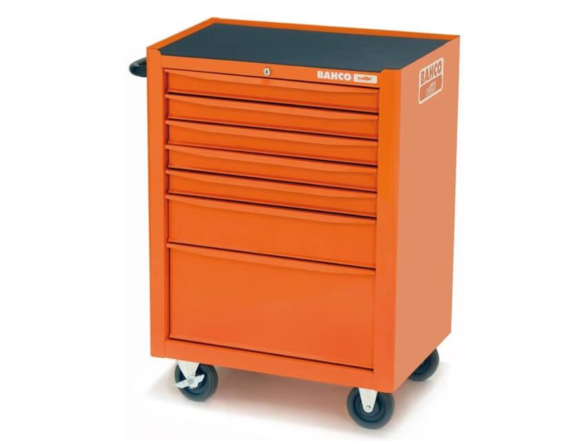 Carro de herramientas Bahco anti vuelco para automoción. Disponible en tres colores: naranja, gris y negro.